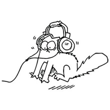 15*9.7CM Wearing Headphones SIMON'S CAT Creative Funny Cartoon Car Sticker Personalized Motorcycle Accessories C4-0480