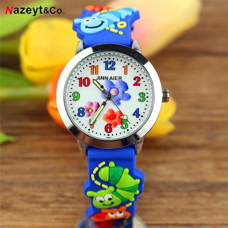 3D Children Quartz Watch  Boys Girls Pretty Flower Simple Face Insect Dial Silicone Strap Clcok Kids Luminous Hands Wristwatch