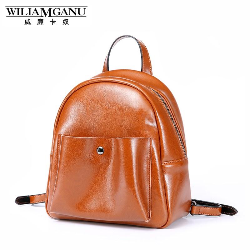 WILIAMGANU Luxury Fashion Real Cowhide Backpacks Women Girl Female Genuine Leather Backpack Shoulder ipad mini Ladies