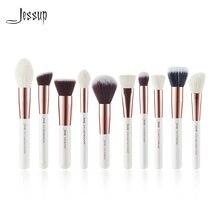 Jessup жемчужные кисти для макияжа белого/розового золота, 10 шт., кисти для основы, пудра, Кисть для макияжа, румяна, для лица, натуральные волосы