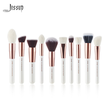 Jessup pérola branco/rosa ouro 10pc pincéis de maquiagem pincéis fundação ferramenta pó compõem escova blushes rosto definer cabelo natural