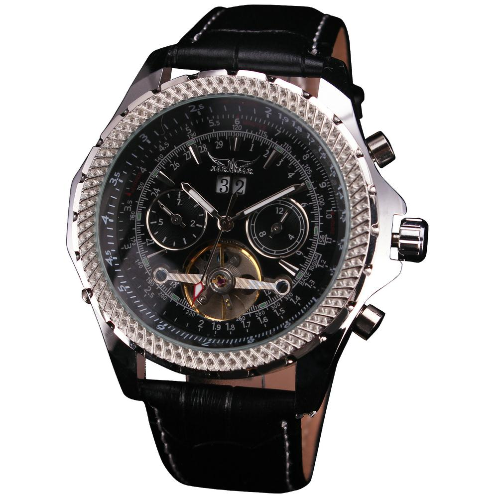 New Oversize Russian Military Tachymetre 3 Subdial Men s Elegant Tourbillon Mechanical Wristwatch Genuine Leather Strap