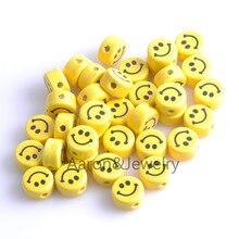 16x9 мм 20 шт желтый круглый принт улыбка керамические бусины, свободные бусины подходят для ювелирных изделий бусины-спейсеры для самостоятельного изготовления YKL0308