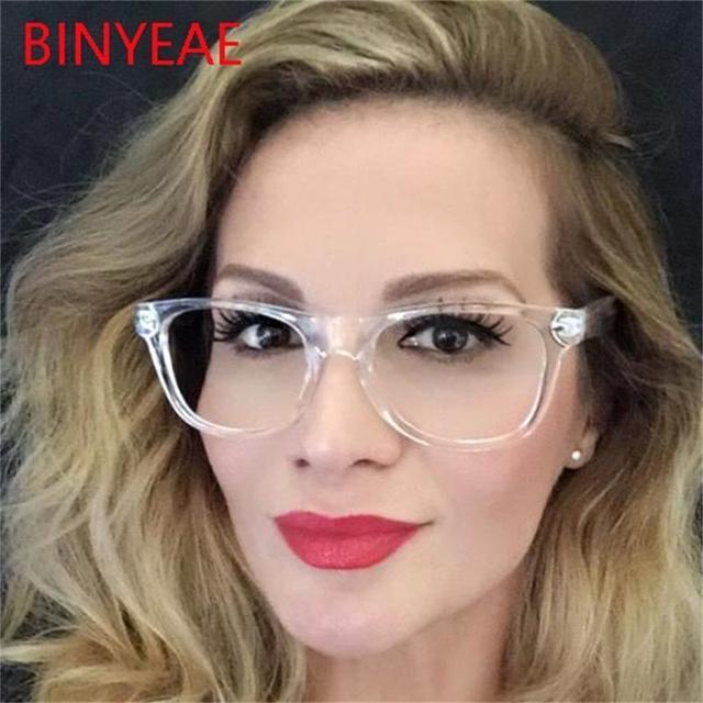 2ddd565b4da0e4 Crystal Clear Frame Vierkante brillen frame vrouwen bril bijziendheid nerd optische  glazen clear lens bril Frame