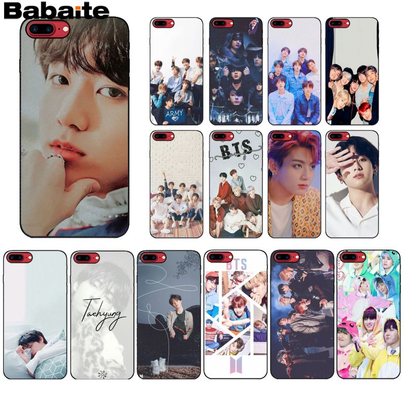 Babaite BTS Pattern TPU Soft Phone Accessories Cell Phone Case for Apple iPhone 8 7 6 6S Plus X XS MAX 5 5S SE XR Mobile Cover