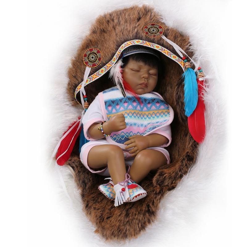 55cm native American Indian Doll Baby Newborn Doll Black Skin Bebe Reborn de silicone Interactive Education Doll Christmas Gifts native корректирующие шорты 210