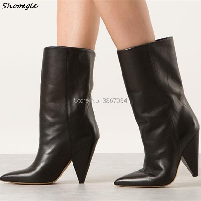 91f393f317c SHOOEGLE Brand Fashion Women Ankle  Knee High Boots Spike Heel Motorcycle  Booties Pointed Toe Cone Heels Black Blue Green Red