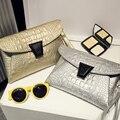 Freeshipping 4 colors Lady Crocodile small bag envelope bag women's handbag 2016 female lady clutch bags student bag