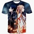 Anime espada de arte em linha T - camisas tees SAO T camisas dos homens das mulheres verão T ocasional shirts camisa 3d T