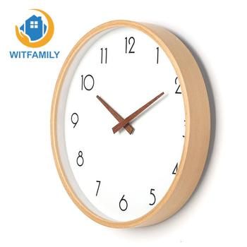 10 Inches Wood Wall Clock Round Nordic Living Room Wood Simple Modern Clock Table Bedroom Quartz Clock Mute Electronic