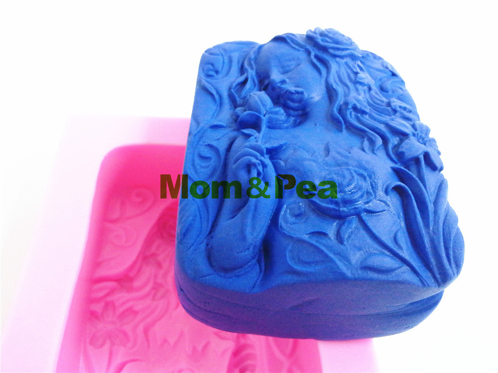 Ambitious Mom&pea 0384 Free Shipping Long Hair Lady Silicone Soap Mold Cake Decoration Fondant Cake 3d Mold Food Grade Silicone Mould Complete Range Of Articles Kitchen,dining & Bar Cake Molds