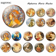 Zodiac - Ivy Fruit Gismonda Alphonse Maria Mucha Glass Fridge Magnets for Refrigerators Home Decoration Accessories