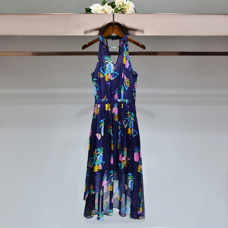 In the summer of 2018 women sleeveless dresses of neck broken flower A word
