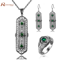 New Africa Wedding Jewelry Sets Antique Austrian Crystal Emerald Ring Pendant Earrings 925 Silver For Women