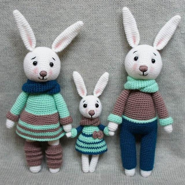 вязаные игрушки амигуруми заяц семьи купить в магазине