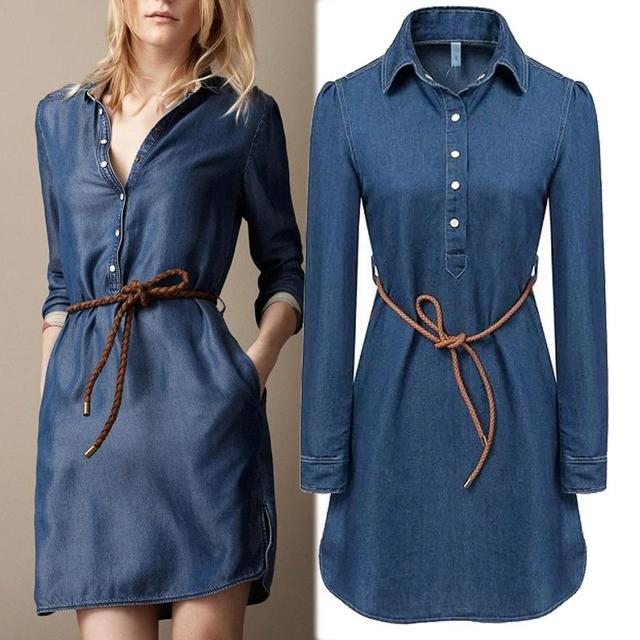 New 2015 summer style fashion denim dress women long sleeve ladies casual  jeans dress with belt vestidos Plus size f1b9b172a