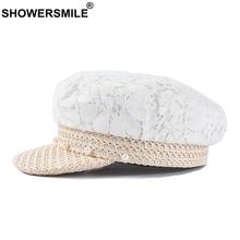 SHOWERSMILE Newsboy Cap Hat Women White Lace Artist Ladies Patchwork Elegant Straw Pearl Painter Beret Female Summer Hats