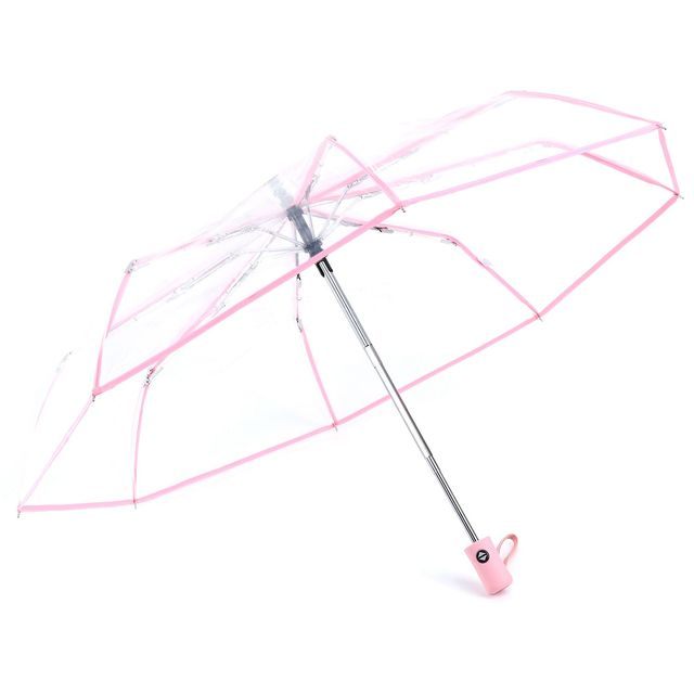 7451490e3d42 US $8.5 |Transparent Umbrella Automatic Umbrella Rain Women Men Sun Rain  Auto Umbrella Compact Folding Windproof Style Clear umbrella-in Umbrellas  ...