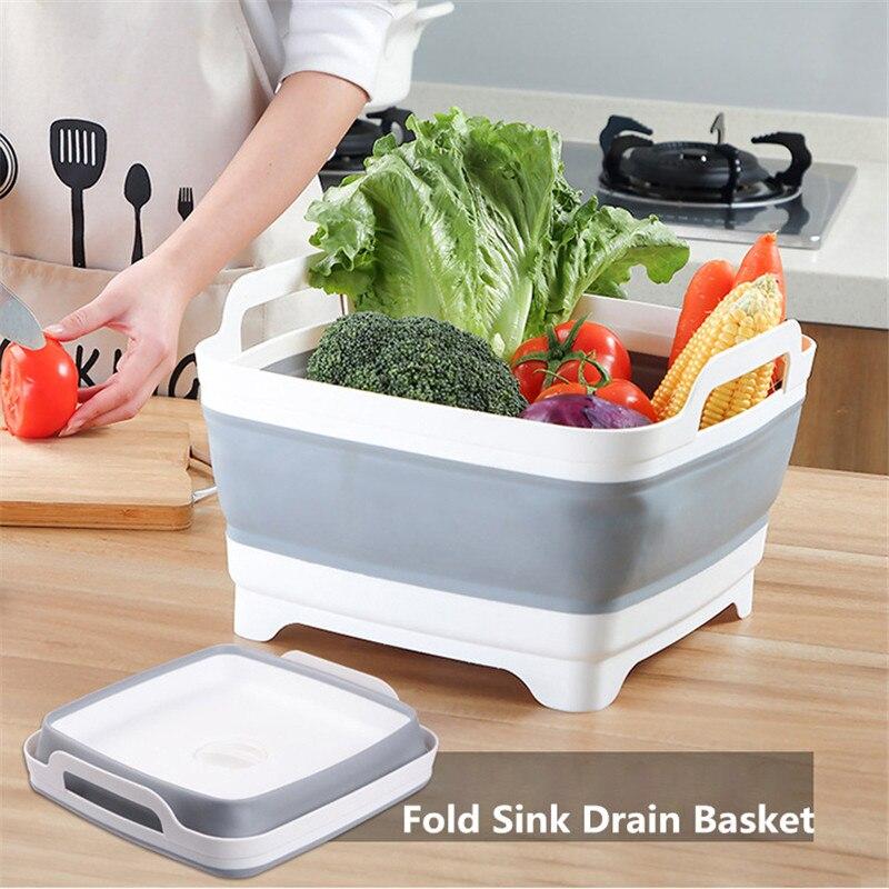 Składane owoce mycie warzyw umywalka umywalka kuchnia zlew silikonowy umywalka kosz spustowy do podróży odkryty Camping piknik piesze wycieczki w Plastikowe i przenośne miski od Dom i ogród na
