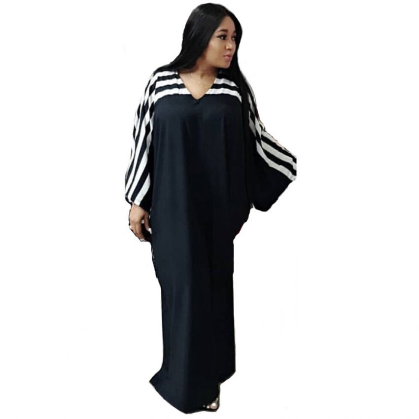 African Dresses For Women 2019 Stripe Africa Clothing Muslim Long Dress High Quality Length Fashion African Dress For Lady