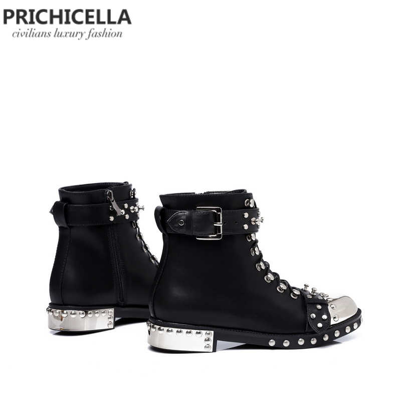 Pricicella/качественные черные ботильоны на плоской подошве из натуральной кожи со шнуровкой и шипами; зимние ботинки в байкерском стиле