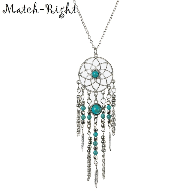 Match-Right Women Sweater Necklace Long Necklaces & Pendants Bohemia Feather Necklace For Women Jewelry NL614