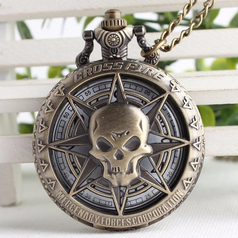 Cross Fire Punk Headshot Skull Souvenir Pocket Watch Men Watches With Necklace Chain Men Gift Masculino Relogio Hombre Saati