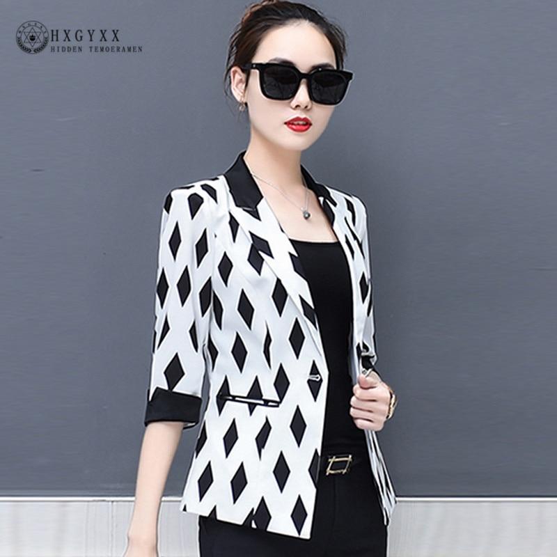 2019 Fashion OL Print Summer Blazer Woman Chiffon Suit Jacket Female Thin Outerwear Pockets Single Button Plus Size Coat B098
