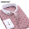Men Casual Shirts Fashion Men's Long Sleeve Dot Slim Fit Shirts High Quality Shirts Camisas social masculinas