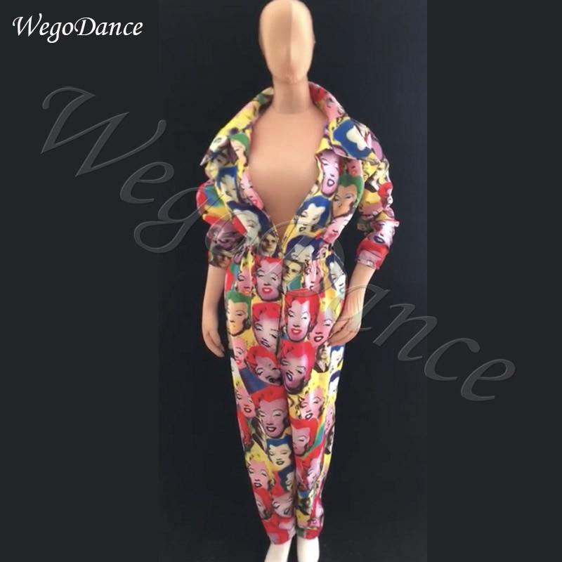 Custom New Style Dj Ds Hiphop Dance Gogo Party Jumpsuit Costume Woman