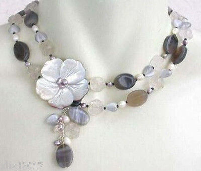 Wholesale 100% Natural jewelry Pretty Choker White Opal moonstone Necklace Shell Clasp
