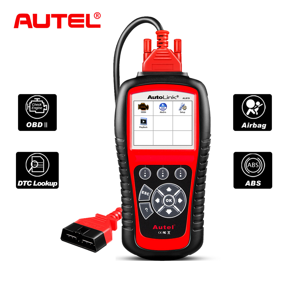 Autel AL619 Autolink ABS/SRS + CAN OBD2 Scan Tool Update Online Autel AL619 OBDII Scanner Car Code Reader Scanner Automotive 2016 new arrival vs 890 obd2 car scanner scantool obdii code reader tester diagnostic tools 3 inch lcd car detector