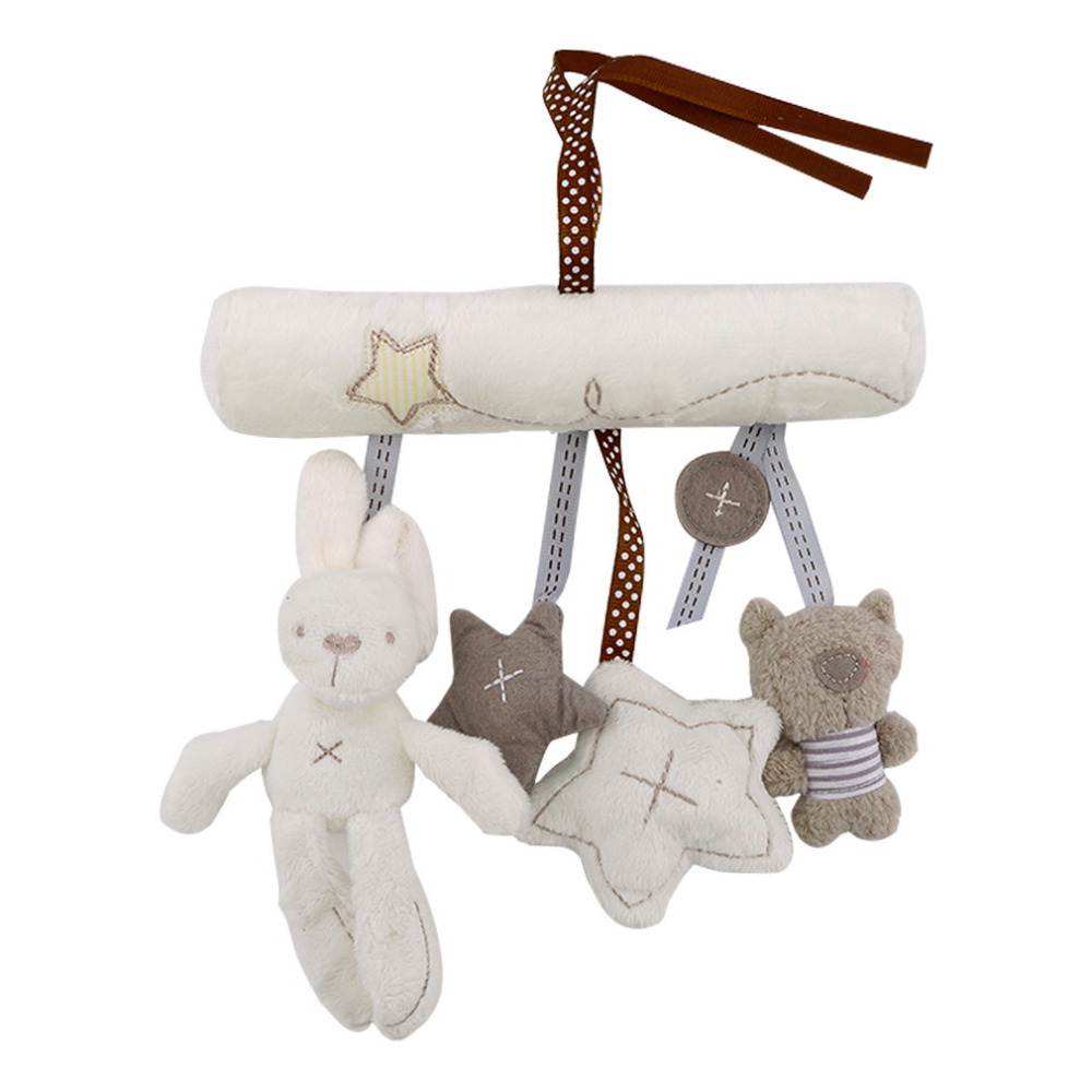 Baby Rattle Rabbit Toys Music Doll Bed Bell For Stroller Infant Multifunctional Cot Hanging Bell Plush Educational Mobile Toys