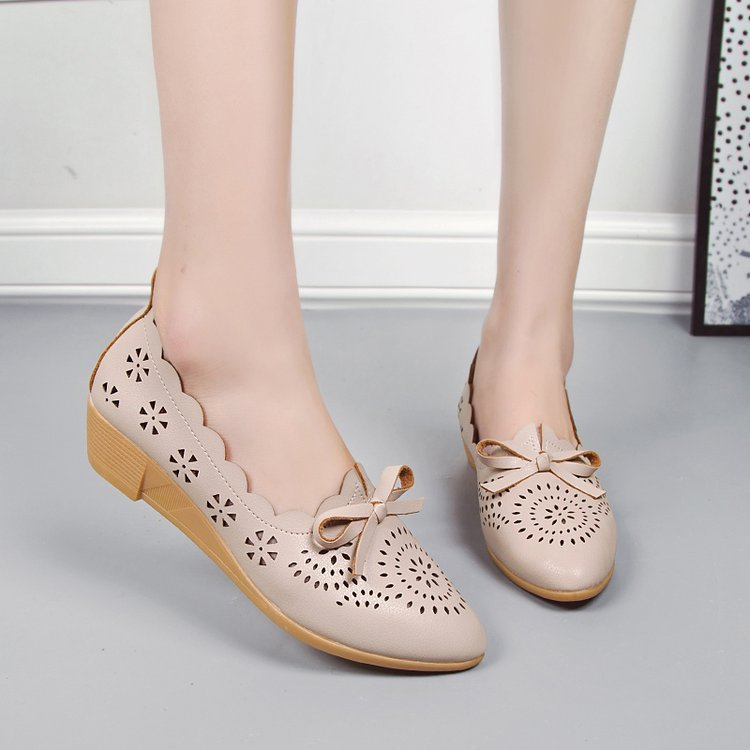 Wedge Hollow Out Low Heel Single Shoes Women Round Head Nude Bow Soft Bottom Hole Shoes Pregnant Woman Mother Shoes Big Size 41Wedge Hollow Out Low Heel Single Shoes Women Round Head Nude Bow Soft Bottom Hole Shoes Pregnant Woman Mother Shoes Big Size 41