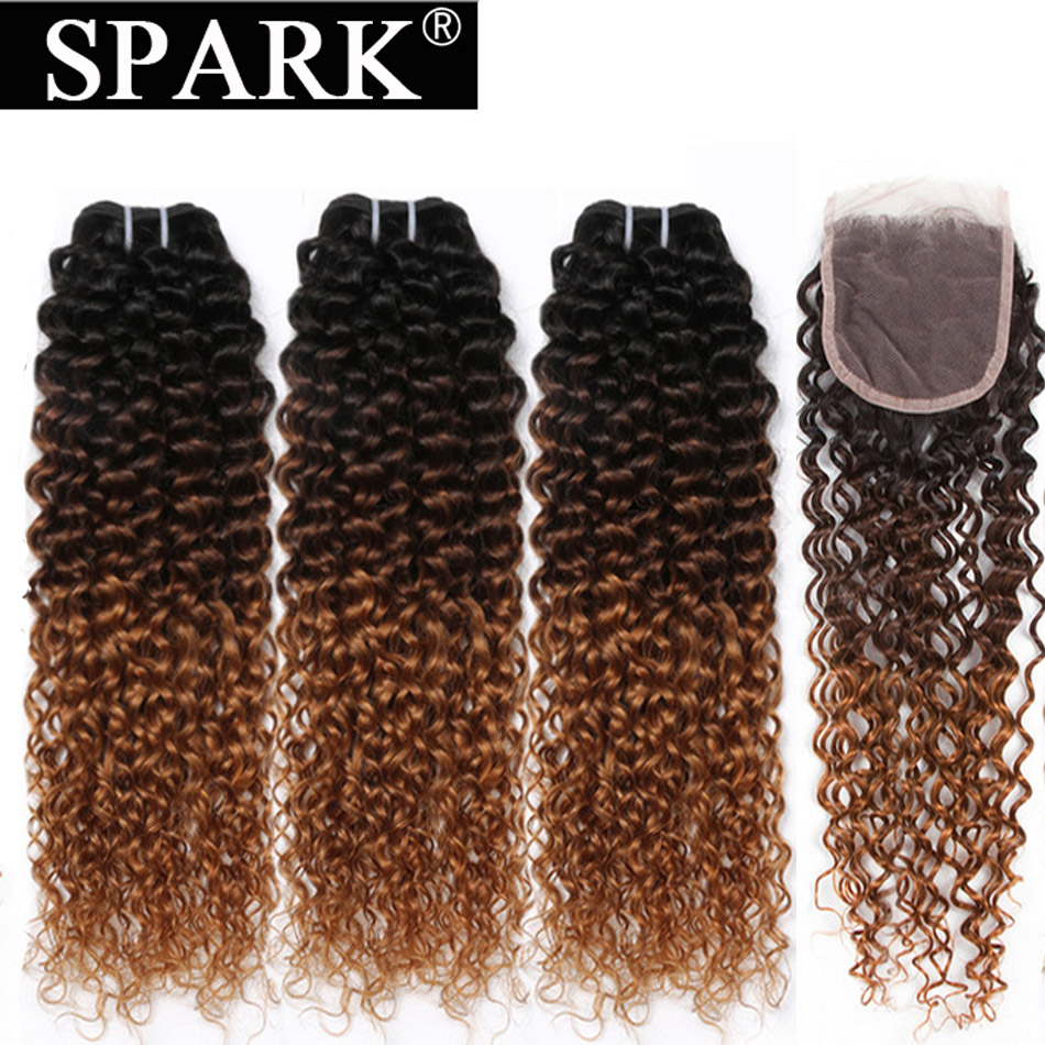 Spark Ombre Mongolian Afro Kinky Curly 3 4 bundle with closure Human Hair Bundles with Lace