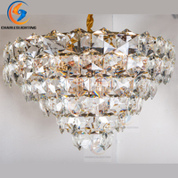 Charles Light Best Luxury Modern Gold Ceiling Light Luxury K9 Crystal Ceiling Lamp Lighting Lustre Free Shipping With E14 Holder