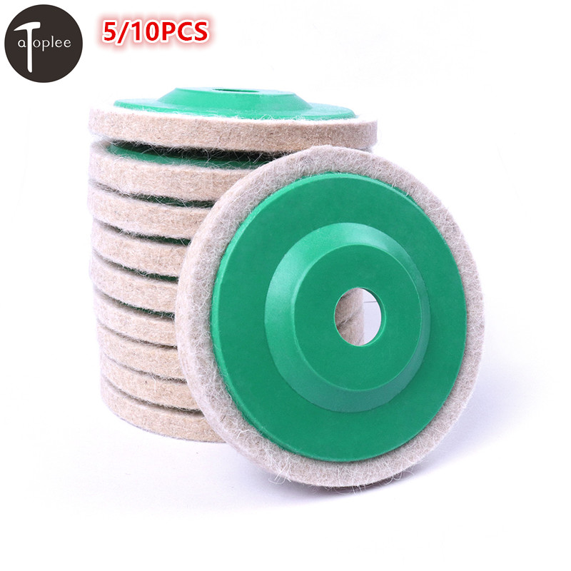 5/10PCS 100mm 4 Wool Buffing Round Polishing Wheels Pads Polisher Wheels For Copper Iron & Aluminum Metal Polishing Tools spta 4 100mm genuine wool buffing ball polishing pad ball hex shank turn power drill or impact driver high speed polisher
