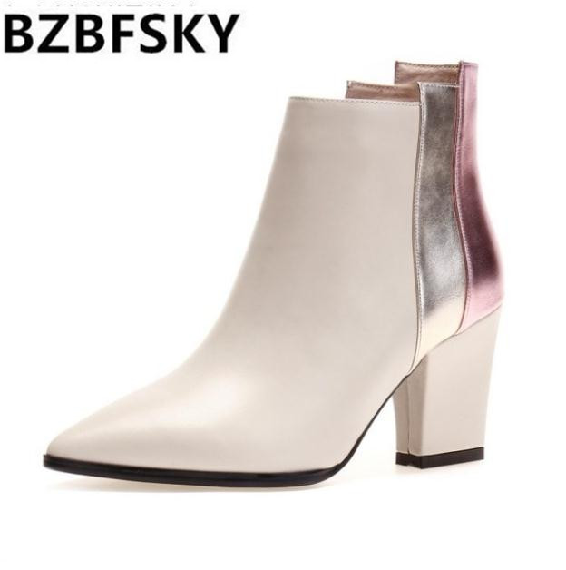 BZBFSKYWinter Genuine Leather Boots High-Heeled British Martin Boots Fashion Square Heel Women Ankle Boots High Heels Lady Shoes fall trendboots in europe and america heavy bottomed martin boots british style high top shoes shoes boots sneakers