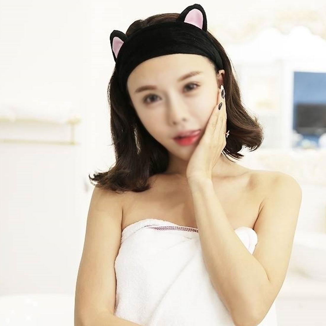 fashion New 1PC 5 Color Cotton Cute Cat Ear Face Washing Head band SPA Make Up Turban Hairband Rabbit Ears Hair Bands in Women 39 s Hair Accessories from Apparel Accessories