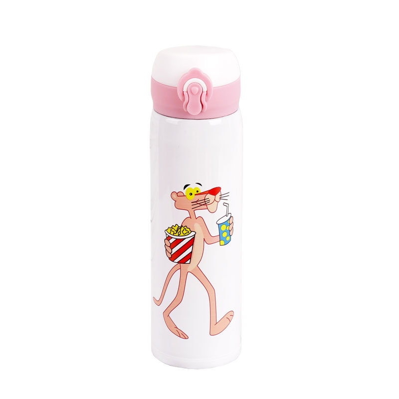 500ml Creative Cute Simple Net Red Cartoon Pink Panther Bullet Cover Thermal Cup insulated wine cup termo acero inoxidable in Vacuum Flasks Thermoses from Home Garden