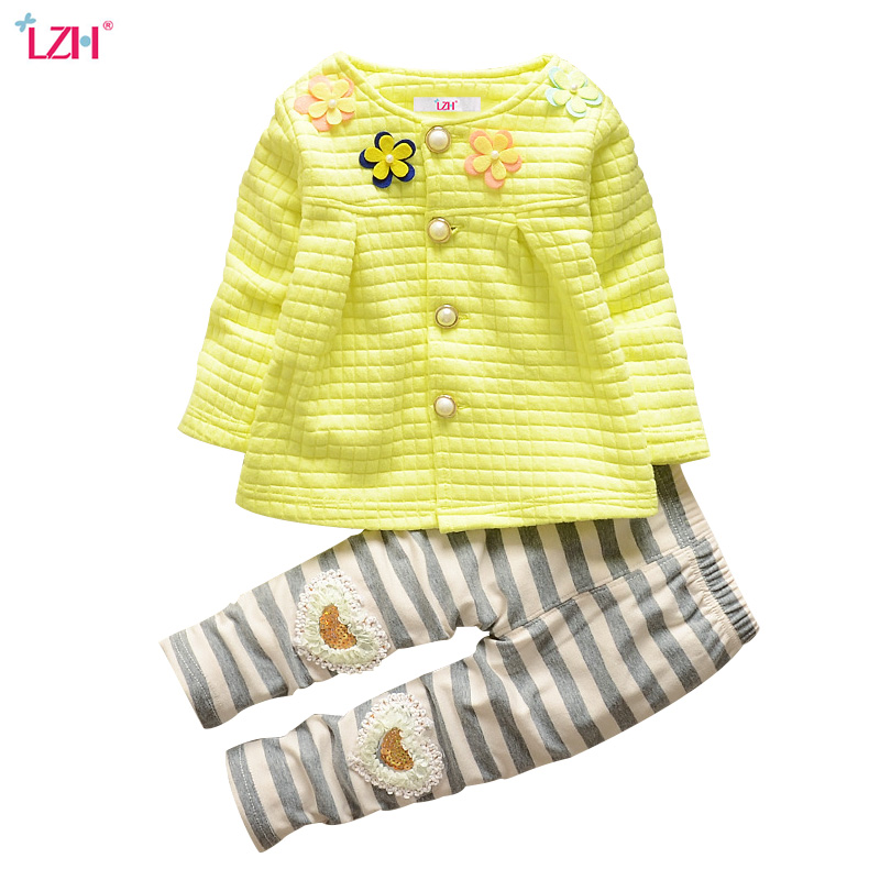 LZH Newborn Clothes 2018 Autumn Winter Baby Girls Clothes Set Cardigan+Pants 2pcs Baby Girls Outfits Suit Kids Infant Clothing summer 2017 leopard baby girl clothes newborn infant baby girls romper bodysuit headband 2pcs outfits toddler kids clothing set