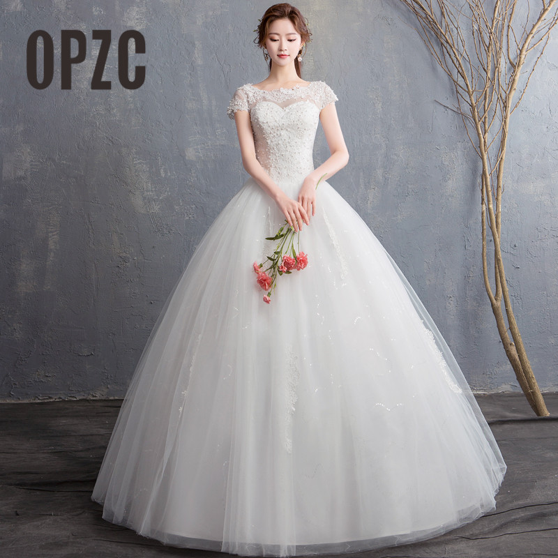 2018 New Arrival O- Neck Sexy Lace With Sequins And Pearls Dreamlike Ball Gown  Wedding Dress