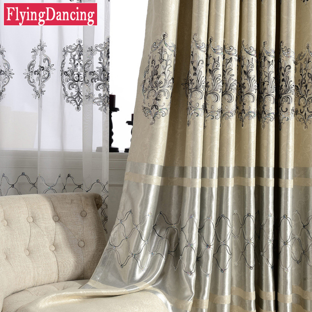 Europe Luxury Curtains For Living Room Embroidered Tulle Sheer Curtain For  Bedroom European Dining Hall Window