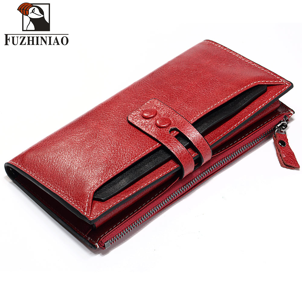 FUZHINIAO Genuine Leather Women Wallet Female and Coin Purse Walet Portomonee Rfid Clamp for Money Long Lady Handy Card Holder