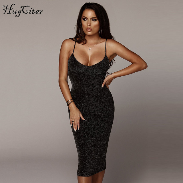 Hugcitar spaghetti straps slash neck backless sexy long dress 2018 women high waist bodycon elegant fashion party dresses 2