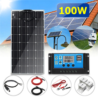 6in1 100W 12V Solar Panel Kit Extension Cord 30A PWM Multifunction Controller Alligator Clip Mounting Bracket 30cm DC Cable