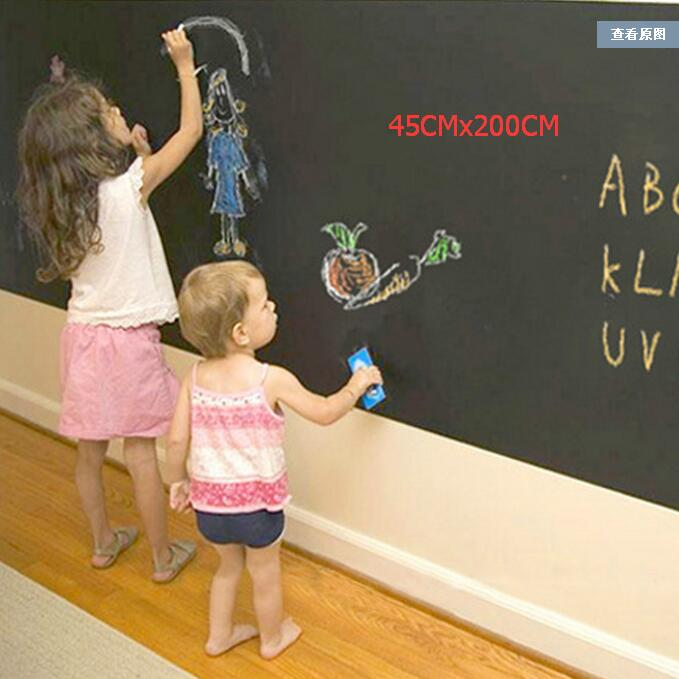 45x200cm Blackboard/Greenboard/Whiteboard Removable Vinyl Wall Sticker Chalkboard Decal Chalk Board For Kids With 5 Free Chalks