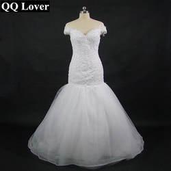 QQ Lover 2019 суд Поезд V образным вырезом Аппликации невесты русалка свадебное платье на заказ свадебное платье Vestido De Noiva
