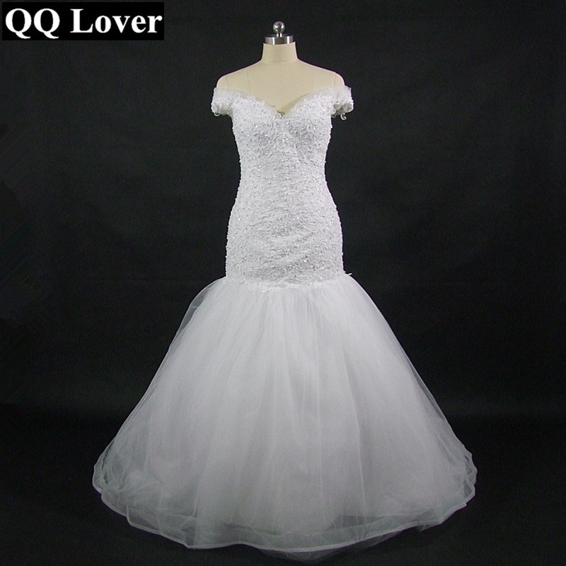QQ Lover 2019 Court Train V Neck Appliques Bridal Mermaid Wedding Dress Custom-made Wedding Gown Vestido De Noiva