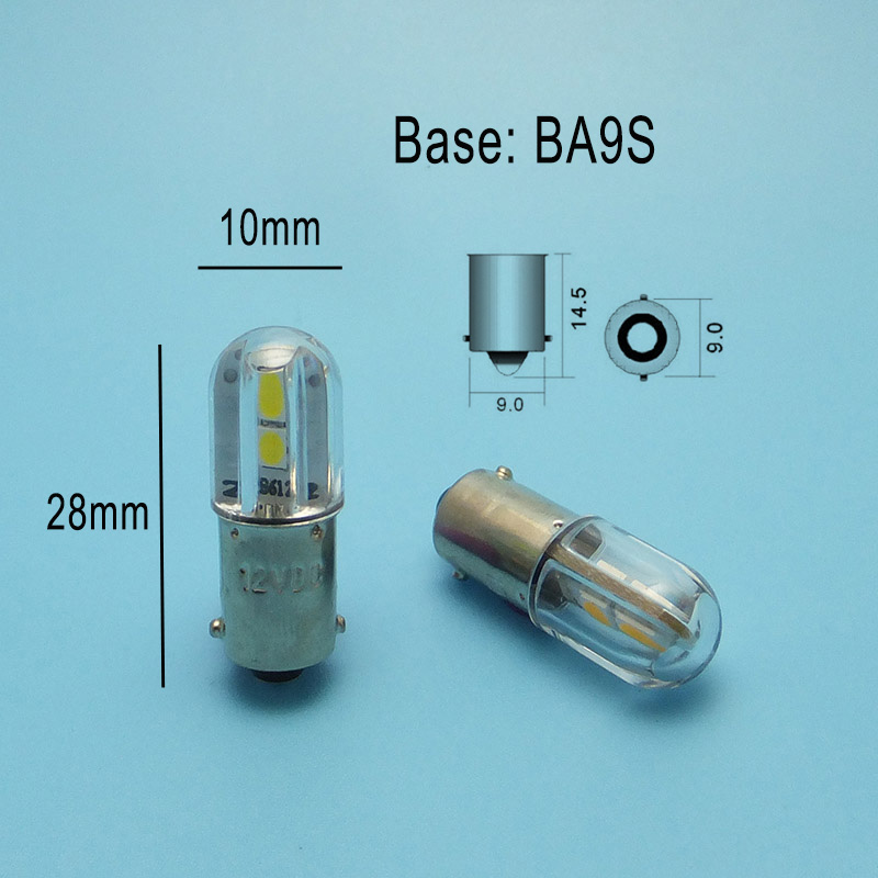 Купить с кэшбэком MIDCARS High Quality 6.3V T4w Ba9s E10 LED Indicator Light Bulb BAY9S 12V SMD 4LEDs 48V 24V to 60V